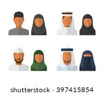 arabic man and woman set ... | Shutterstock .eps vector #397415854