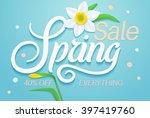 spring sale banner. sale poster ... | Shutterstock .eps vector #397419760