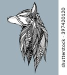 profile wolf. howling wolf.... | Shutterstock .eps vector #397420120