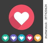heart  love icon flat web sign... | Shutterstock . vector #397420624