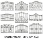 forged gates set.  decorative... | Shutterstock .eps vector #397424563