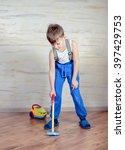 cute little boy in blue pants ... | Shutterstock . vector #397429753
