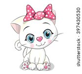 cute cartoon white kitten on a... | Shutterstock .eps vector #397430530