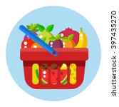 red shopping basket with fruits....   Shutterstock .eps vector #397435270