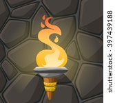 cartoon torch with flame on... | Shutterstock .eps vector #397439188