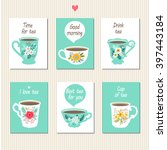 Tea Set Cards. Set Of Beautifu...