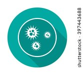 virus icon with long shadow.... | Shutterstock .eps vector #397443688