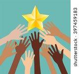 group of diversity hand... | Shutterstock .eps vector #397459183