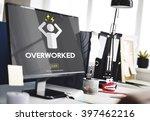 overworked depression emotion... | Shutterstock . vector #397462216