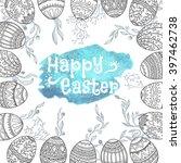 easter background. hand drawn... | Shutterstock .eps vector #397462738