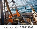 Fishermen Pull Trawl Fish. Sea...