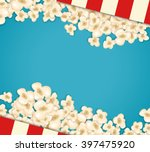 heap popcorn for movie lies on... | Shutterstock .eps vector #397475920
