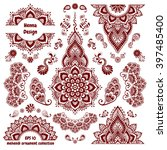 hand drawn mehendi ornamental... | Shutterstock .eps vector #397485400