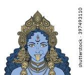 indian hindi goddess kali.... | Shutterstock .eps vector #397493110