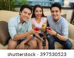 three cheerful friends with... | Shutterstock . vector #397530523