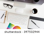 designer workspace on top view | Shutterstock . vector #397532944
