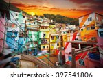 Stock photo rio de janeiro downtown and favela brazil 397541806