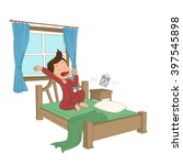 kid wake up in the morning... | Shutterstock .eps vector #397545898