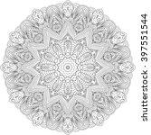 ray edge mandala tracery wheel... | Shutterstock .eps vector #397551544