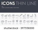 thin stroke line icons of diet... | Shutterstock .eps vector #397558300