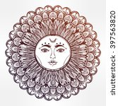 sun mandala. round ornament.... | Shutterstock .eps vector #397563820