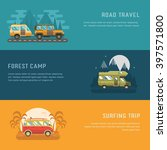 rv camping banners. car summer... | Shutterstock .eps vector #397571800