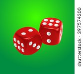 Red Dice On Green Background....