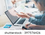 coworking team.closeup photo... | Shutterstock . vector #397576426