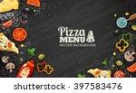 pizza menu chalkboard cartoon... | Shutterstock .eps vector #397583476
