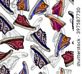 seamless pattern with sneakers... | Shutterstock .eps vector #397587730