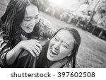 sister friendship affectionate...   Shutterstock . vector #397602508