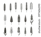set of simple wheat ears icons... | Shutterstock .eps vector #397606390