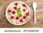 Oatmeal Porridge In Bowl With...
