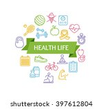 health life fitness concept and ... | Shutterstock . vector #397612804