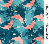 seamless sea life pattern with... | Shutterstock .eps vector #397613980