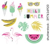 summer icon set. vector... | Shutterstock .eps vector #397616920