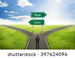 Small photo of Businessman concept, Sign Now or Later road to the correct way.