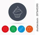 cupcake icon. dessert cake sign....   Shutterstock .eps vector #397645390