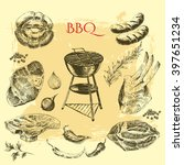 vector hand drawn barbecue... | Shutterstock .eps vector #397651234