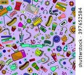 cinema seamless line art design ... | Shutterstock .eps vector #397652584