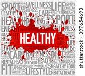 healthy word cloud  health... | Shutterstock .eps vector #397654693