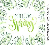 floral frame with hello spring... | Shutterstock .eps vector #397656418