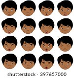indian boy emotions  joy ... | Shutterstock . vector #397657000