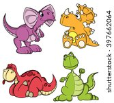 dino baby series. set of funny... | Shutterstock .eps vector #397662064