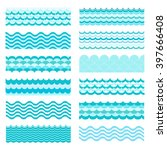 collection of marine waves. sea ... | Shutterstock .eps vector #397666408