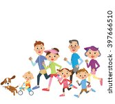 run in three generation family | Shutterstock .eps vector #397666510
