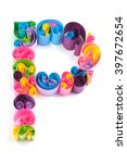 Small photo of Paper ABC letter made in quilling crafting technic