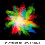 explosion of colored powder on... | Shutterstock . vector #397675036
