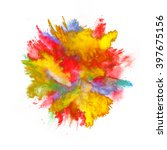 explosion of colored powder on... | Shutterstock . vector #397675156