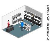 isometric interior of computer... | Shutterstock . vector #397678396